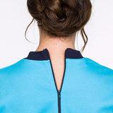 Hansop tricot zonder voet met rugritssluiting en rits in kruis detail nek