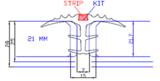 Rubberen vlonderplank anti-slip profiel type 2 (sparing 7 - 13mm)