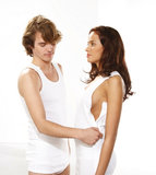 Dames hemdje met drukkers en rits zijkant kleur 100 (wit) detail 1
