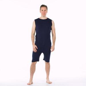 Body met rits en korte pijp met rits marine blauw