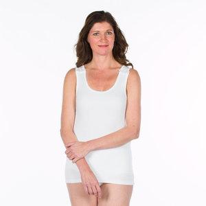 Dames hemdje met drukkers op schouders kleur 100 wit
