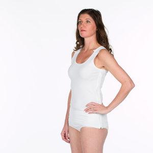 Dames hemdje met drukkers en rits zijkant kleur 100 (wit)